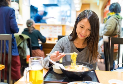 Japanese girl eating ramen